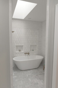 Master bathtub from entrance of new shower